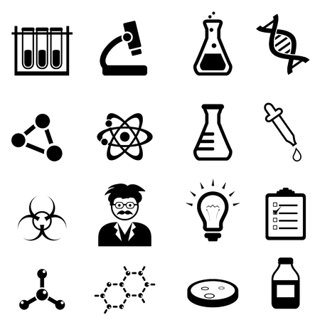 Chemistry, biology and physics related science icons
