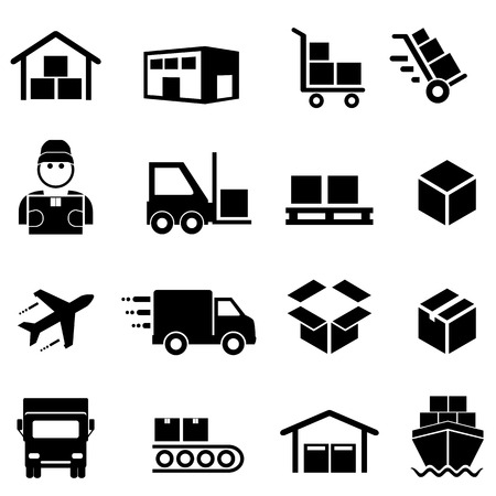 Shipping, freight, cargo, delivery, distribution and logistics icon set Ilustracja
