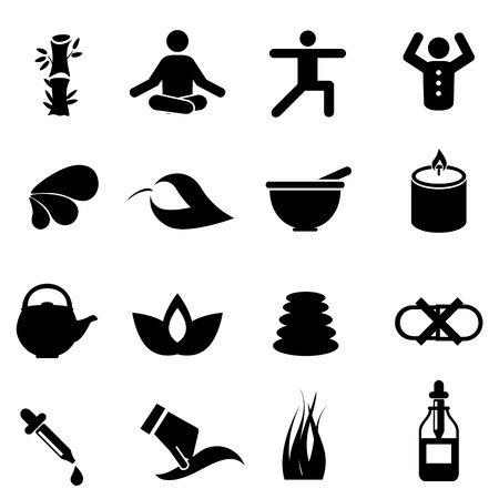 Alternative therapy medicine and natural healing icon set
