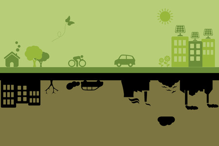 clean air: Green city with sustainable living versus polluted industrial city