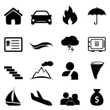 accident and disaster icon set