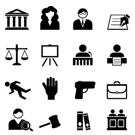 Ensemble d'icônes de droit, juridique, justice et tribunal