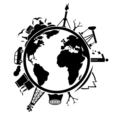 Aarde met afval en milieuverontreinigingskwesties
