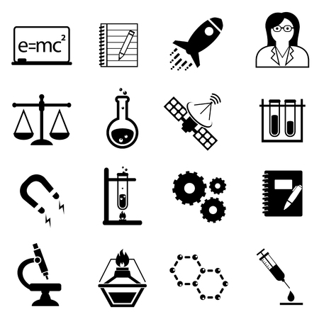 Science, scientific discovery and innovation icon set