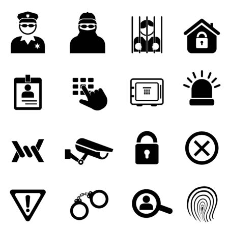 Security, safety related icon set