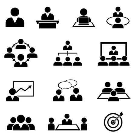 Zakenman aan vergaderingen, seminars, conferenties en opleiding