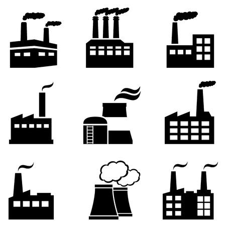 Industriegebäude, Fabriken und Kraftwerke verschmutzen mit Rauch Standard-Bild - 70729740