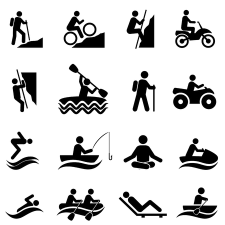 Leisure and outdoor recreational activities icon set Vettoriali