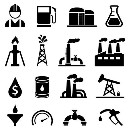 Olie- en aardolie-gerelateerde pictogramreeks Stockfoto - 70655862