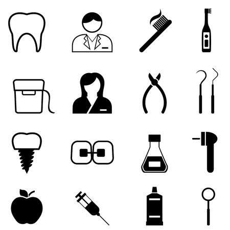 Dental health, dentist and dentistry icon set