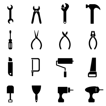 Hardware and tools icon set