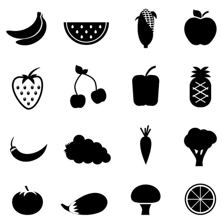 Vegetables and fruit health eating icons