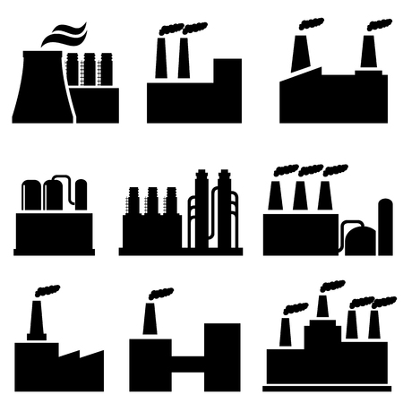 Industrial buildings and factories icon set Ilustração