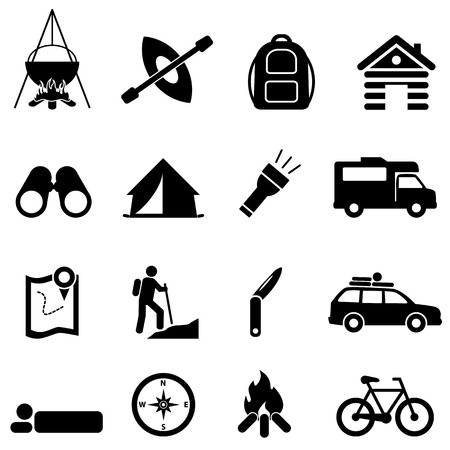 Leisure, camping and recreational activities icon set Ilustração