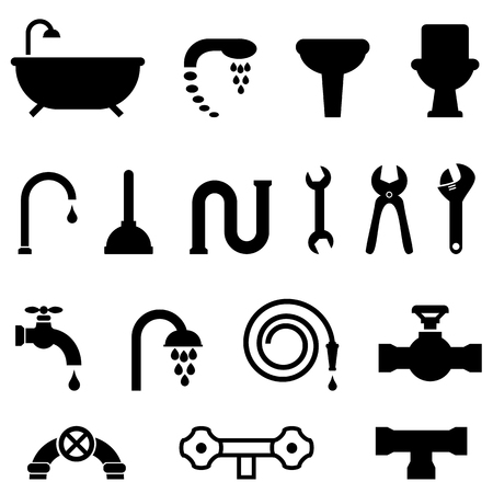 Plumbing, bathroom and kitchen icon set