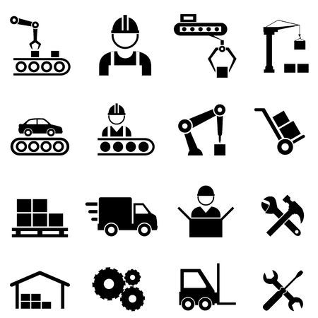 Factory, manufacturing, assembly line and automation related industrial icon set
