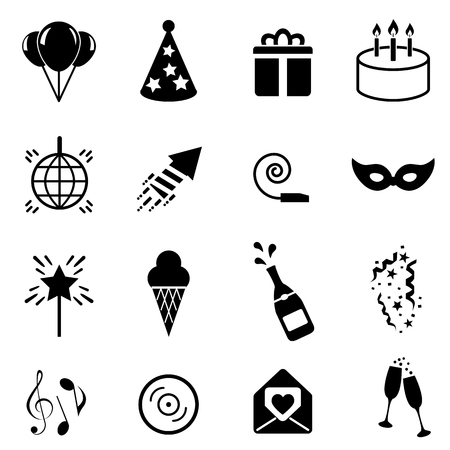 Party and celebration icon set in black