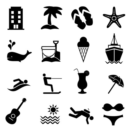 Beach, resort and summer vacation icon set Ilustração
