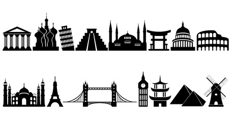 World famous travel and tourism landmarks and monuments