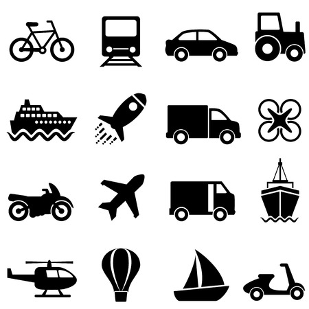 Air, water, land mode of transportation icon set Ilustração