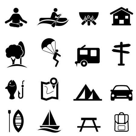 Outdoor recreational activities, camping and leisure icon set