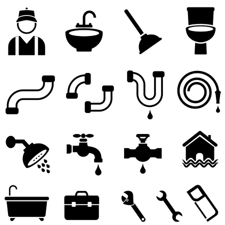 Kitchen, bathroom and house plumbing icon set
