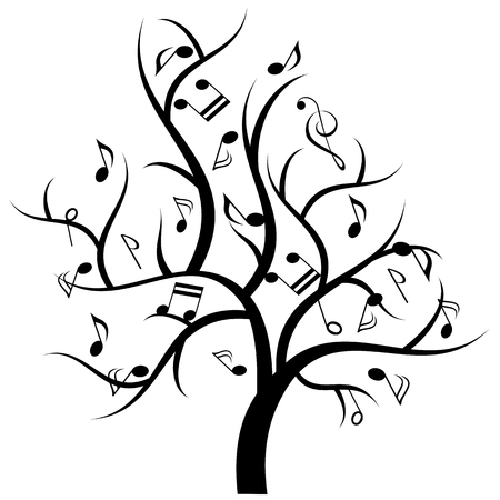 Music notes hanging on musical tree