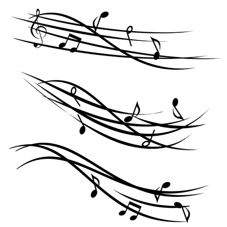 Ornamental stave with music notes Иллюстрация