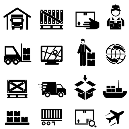 Shipping, cargo, delivery, distribution, freight and warehouse web icon set