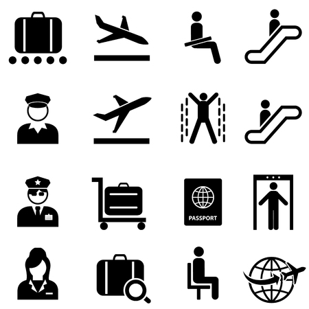 공항, 보안 및 항공 비행기 여행 웹 아이콘 설정 일러스트