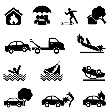 Insurance and accident web icon set Illustration