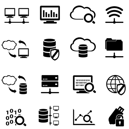 Big data, computer and cloud computing web icon set