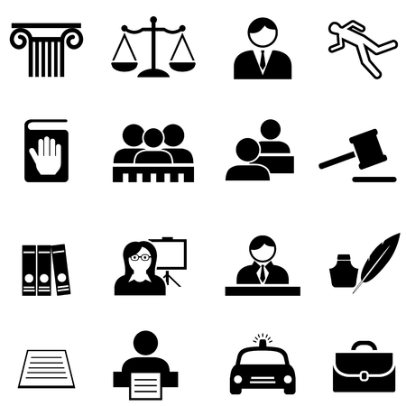 Justice, legal, law and lawyer web icon set