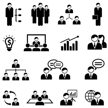 Management, business and meeting web icon set