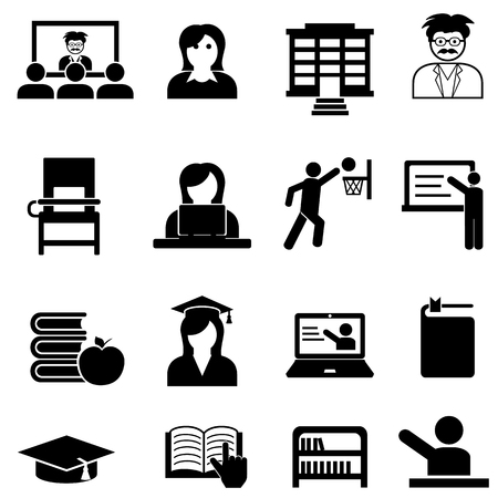 College and university higher education web icon set Ilustração