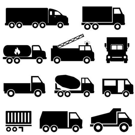 Trucks and transportation web icon set Ilustração