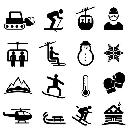Jeu d'icônes de ski, neige, sports d'hiver et loisirs Banque d'images - 94430795