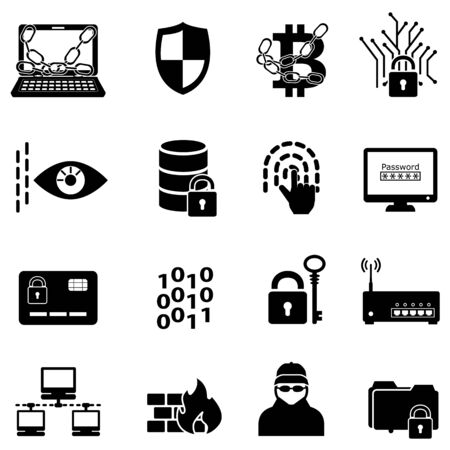 Cyber security, data protection, hacker and encryption web icon set Ilustração