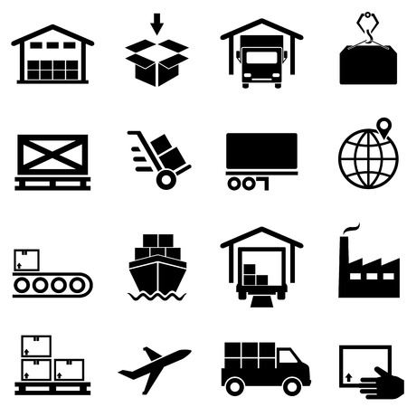 Logistics, supply chain, distribution, warehousing and shipping icon set