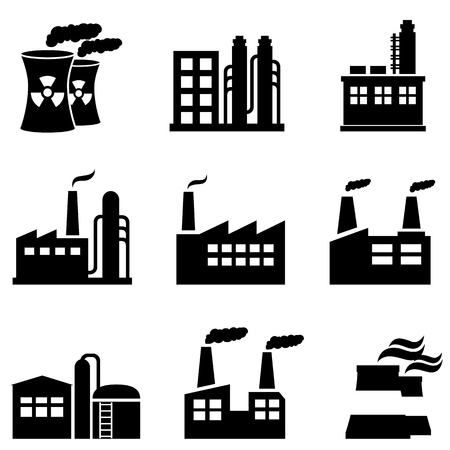 Industrial buildings, power plants and factories Stock Illustratie
