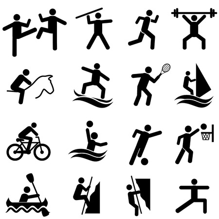 Sports, fitness, activity and exercise web icon set 免版税图像 - 100384773