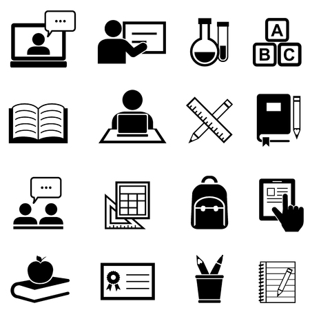 Education, learning and back to school icon set
