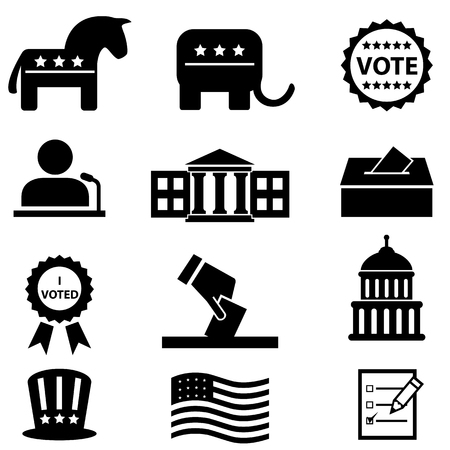 US elections and voting icon set Иллюстрация