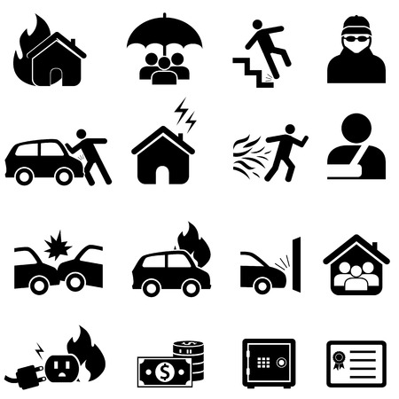 Car, home, health insurance icon set
