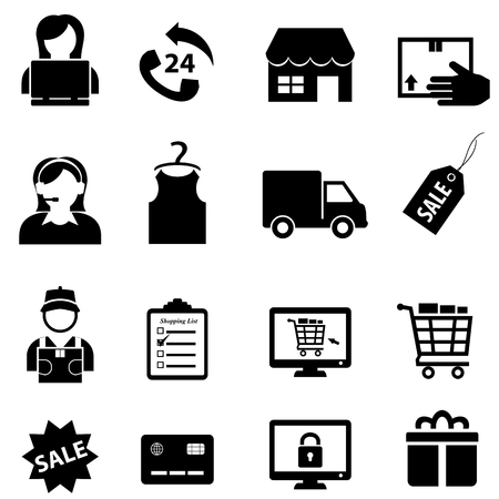 Shopping, retail, sale and online e-commerce icon set in black