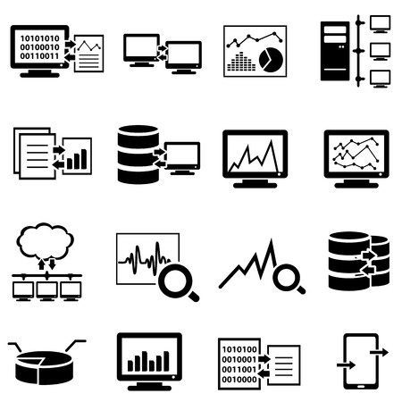 Big data, data analysis, computer and cloud computing web icon set