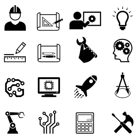 Engineering and design related web icon set Ilustração