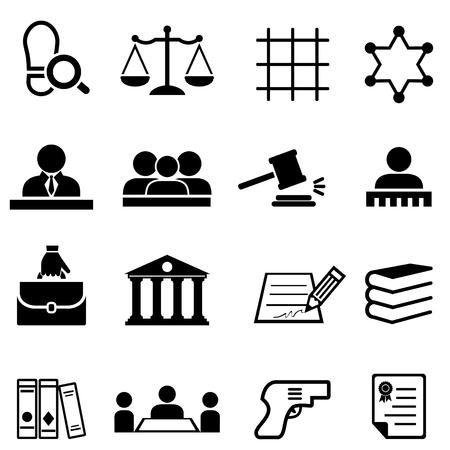 Jeu d'icônes web justice, droit, juridique et avocat