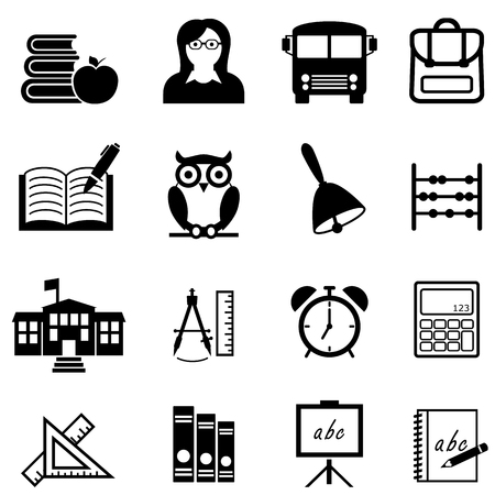 School, education, learning and back to school web icon set Ilustração