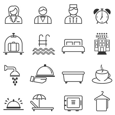 Hotel, hospitality and resort line web icon set Banque d'images - 114839077